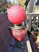 Antique Victorian Ruby Red Satin Glass Table Lamp Gone With The Wind