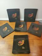 6 Vintage Couroc Of Monterey With Anheuser Busch Seal Small Trays 7x6