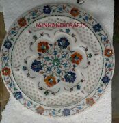 Antique 18 Marble Fin Round Serving Plate Table Top Makrana Mosaic Inlay Decor