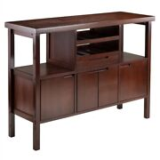 Dining Room Sideboard Buffet Table Wine Rack Storage Brown Wood Finish
