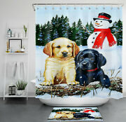Cute Dogs Winter Forest Christmas Snowman Shower Curtain Bathroom Accessory Sets