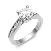 Diamond Solitaire Engagement Ring Shoulder Set 0.35cts G-si1 Gia Certificate