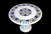 24 White Marble Table Top Coffee Dining Inlay Lapis Mosaic Home With Stand H7