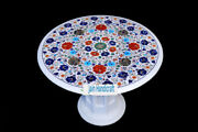 24 White Marble Table Top Coffee Dining Inlay Lapis Mosaic Home With Stand H8