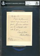 Woodrow Wilson Authentic Signed 5.5x7 1902 Handwritten Note Bas Slabbed