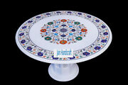 26 White Marble Table Top Coffee Dining Inlay Lapis Mosaic Home With Stand H13
