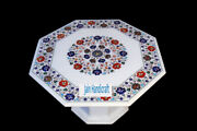 26 White Marble Table Top Coffee Dining Inlay Lapis Mosaic Home With Stand H15