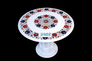 24 White Marble Table Top Coffee Dining Inlay Lapis Mosaic Home With Stand H16