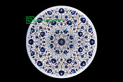 36and039and039 White Marble Table Top Center Coffee Dining Inlay Lapis Mosaic P2