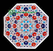 30'' White Marble Table Top Center Coffee Dining Inlay Pietra Dura Mosaic P10