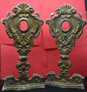 Two /pair Rare Wood Gilded Angel Shrine Relicario Relic Reliquary For Relic 1800