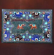 4and039x2.5and039 Green Marble Table Top Coffee Center Inlay Lapis Mosaic Home Decor G643