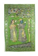 Vintage Lord Radha Krishna Pichwai Wall Hanging Antique Collectible Gold Color