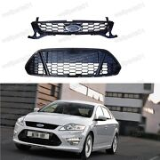 Front Upper + Lower Grilles Honeycomb Mesh Grill Set For Ford Mondeo 2011-2012