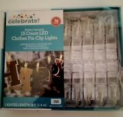 15 Count Led Clothes Pin Clip Lights Warm White Lights Indoor/outdoor Use New