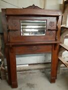 Antique Victorian American Tiger Oak Fireplace Mantle Salvage