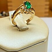 Natural Emerald And Diamonds 14k Yellow Gold Ring Can Be Sized - Perfect Gift