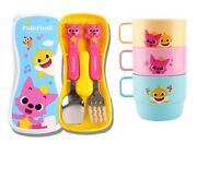 Pinkfong Training Cup 3pc + Training Fork Spoon Case Set Feeding Kids Baby