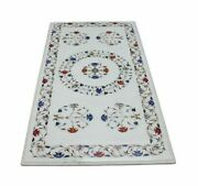 5and039x2.5and039 White Marble Coffee Center Table Top Inlay Pietra Dura Home Decor H32