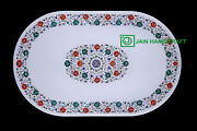4and039x2and039 White Marble Coffee Center Table Top Inlay Pietra Dura Home Decor H34
