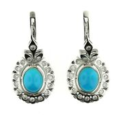 7900 9.00 Ct White Gold Russian Style Turquoise And Diamond Earrings 14kt
