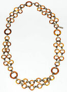 Ysl Circular Faux Tortoise Shell Chain Necklace