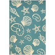 Couristan Outdoor Escape Cardita Shells Turquoise And Ivory In/out Rug 5and0396x8and039