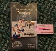 Disney Pin Chip And Dale Monorail Tour Annual Passholder Ticket Le 3000 Pin Set