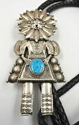 Navajo Turquoise Kachina Sunface Sterling Silver Bolo Tie G Hale Huge 128 Grams