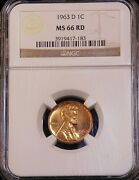 1963-d Lincoln Cent Ngc Ms66rd Bright Red Superb Luster Pq Gc119
