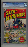 Sub-mariner 22 Cgc 5.0 Vg/fn Marvel Young Allies White Pages Looks 7.0+