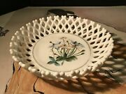 Antique Milk Glass Lattice Bowl Circa 1880and039s With Pink And Blue Cocoon Flowers.