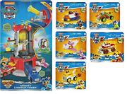 Paw Patrol Mighty Pups Super Paws Lookout Tower Playset W/ 6 Super Paws Vehicles