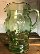 Antique Green Depression Glass Cameo Pattern Pitcher