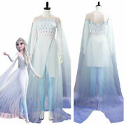 Frozen 2 Ice Gown Queen Elsa Ahtohallan Cave Cosplay Costume Adult And Kidand039s Dress