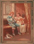Boy Playing Flute With Girl In Window-seat, Cute Victorian Card   Jx2928