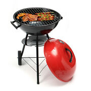 Portable Red Kettle Trolley Bbq Grill Charcoal Barbecue Wood Picnic