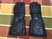 Lauer Milwaukee Black Leather Motorcycle Gauntlet Gloves Small