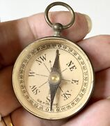 Vintage Brass Compass Germany Pendant Fob Hiking Camping Menandrsquos Groom Gift