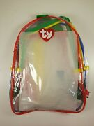 New Ty Beanie Baby Clear Backpack With Straps Red Green Blue Yellow Accents Rare
