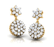 Christmas 1.80ct Natural Round Diamond 14k Solid Yellow Gold Dangler Earring