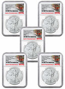 5pk 2020s 1 Oz Silver Eagle Struck San Francisco Emergency Ngc Ms69 Er