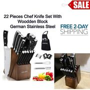 Knife Set Kitchen Cutlery Chef Stake Knives Block Wooden Stainless Steel 22 Pcs