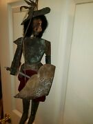 Antique Vintage 2 Point Armored Marionette Wooden Face 20 Tall
