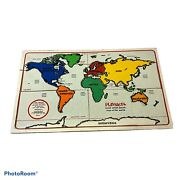 Vintage Playskool Wooden Wood Inlaid Map Of World Puzzle Countries Listed Under