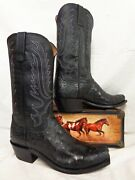 Lucchese Mens Boots Luke N1155.73 Western Black Fq Ostrich 7 Toe Usa Made 711
