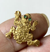 Tsavorite And 14k Gold Frog Brooch. Collectable Pin. Mid Century Jewelry. Garnet
