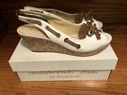 Christopher And Banks Maggie White Canvas Cork Wedge Open Toe Shoes Sz 9.5 New