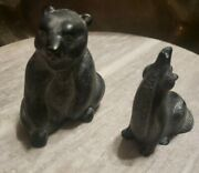 Boma Bear Wolf Figurines Nature Animals Miniatures Native Canada Carved