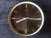 Vintage Metamec Atomic Style Battery Wall Clock In Brass And Bronze Colourway